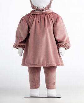 Vestido Bebé Niña TOCOTO VINTAGE Terciopelo Rosa