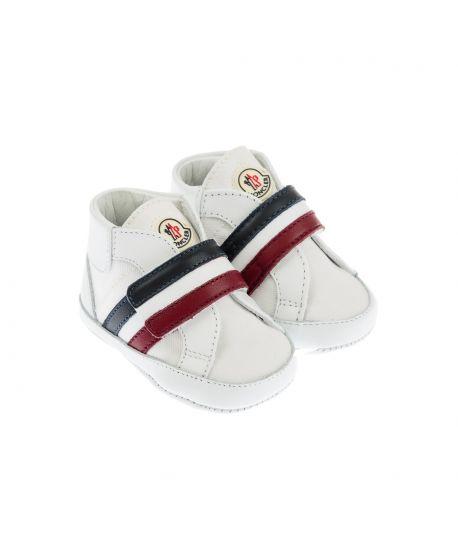 Zapatos Moncler Bebé Niño Velcro Blancos