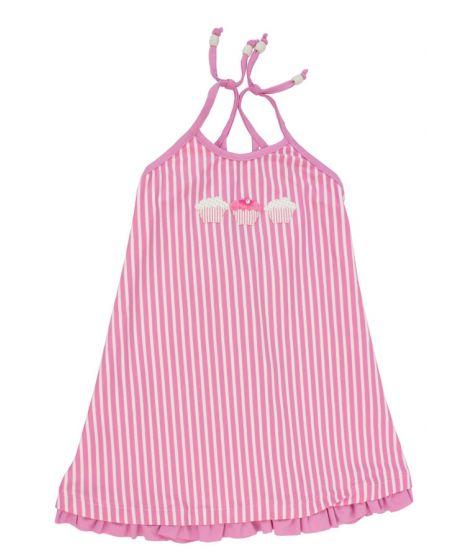 Vestido Lycra Al Agua Patos Rayas Rosa