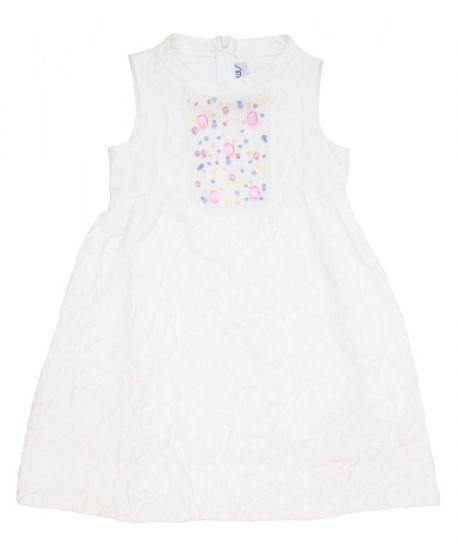 Vestido Simonetta Niña Blanco Detalle Perlas