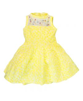 Vestido Simonetta Niña Amarillo Detalle Perlas