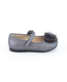 Zapatos Niña Eli Piel Pompon Gris
