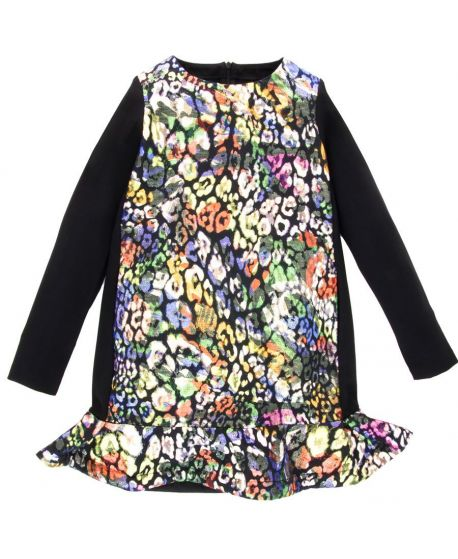 Vestido Niña Simonetta Negro Estampado Multicolor