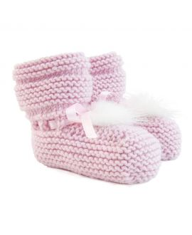 Patucos Bebe Ro Infantil Punto Rosa Pompon
