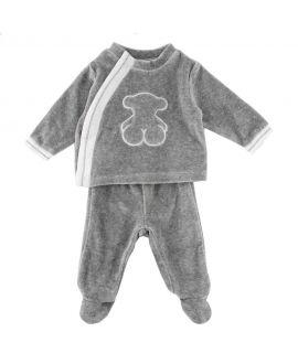 Pijama Bebe Baby Tous Gris Detalles Blancos