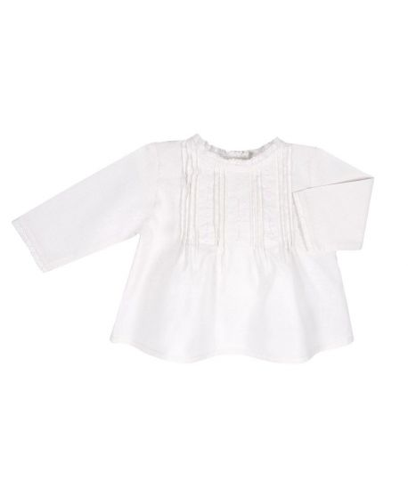 Blusa Bebe Niña Bonnet a Pompon Blanca