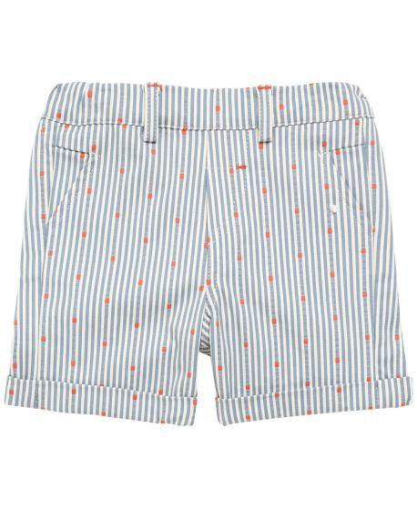 Pantalon Corto Bebe Niño Rayas Detalles Naranja