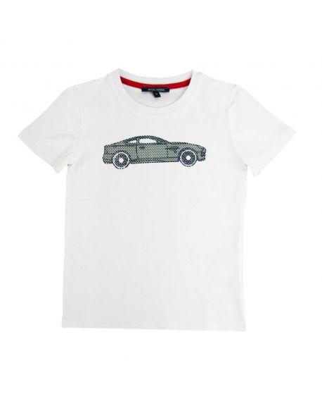 Camiseta Niño Aston Martin Blanca Coche