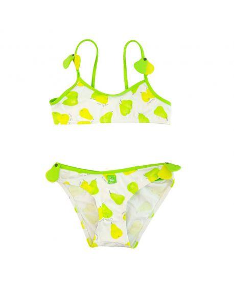 Bikini Niña Al Agua Patos Verde Peras