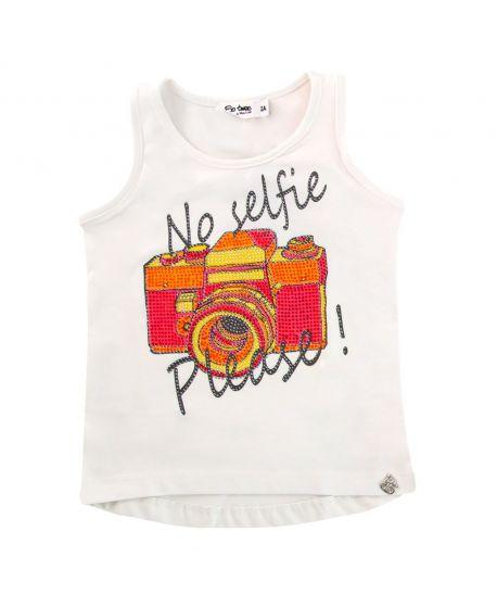 Camiseta Niña So Twee Microbe Blanca 'No Selfie'