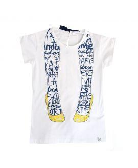 Camiseta Niña L:U L:U Piernas Strass Amarillo