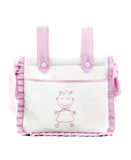 Bolsa Bebe Niña Ro Infantil Blanca y Rosa